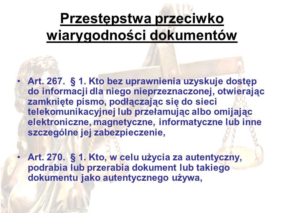 Przestępstwa przeciwko wiarygodności dokumentów Art. 267. § 1. Kto bez uprawnienia uzyskuje dostęp do informacji dla niego nieprzeznaczonej, otwierają