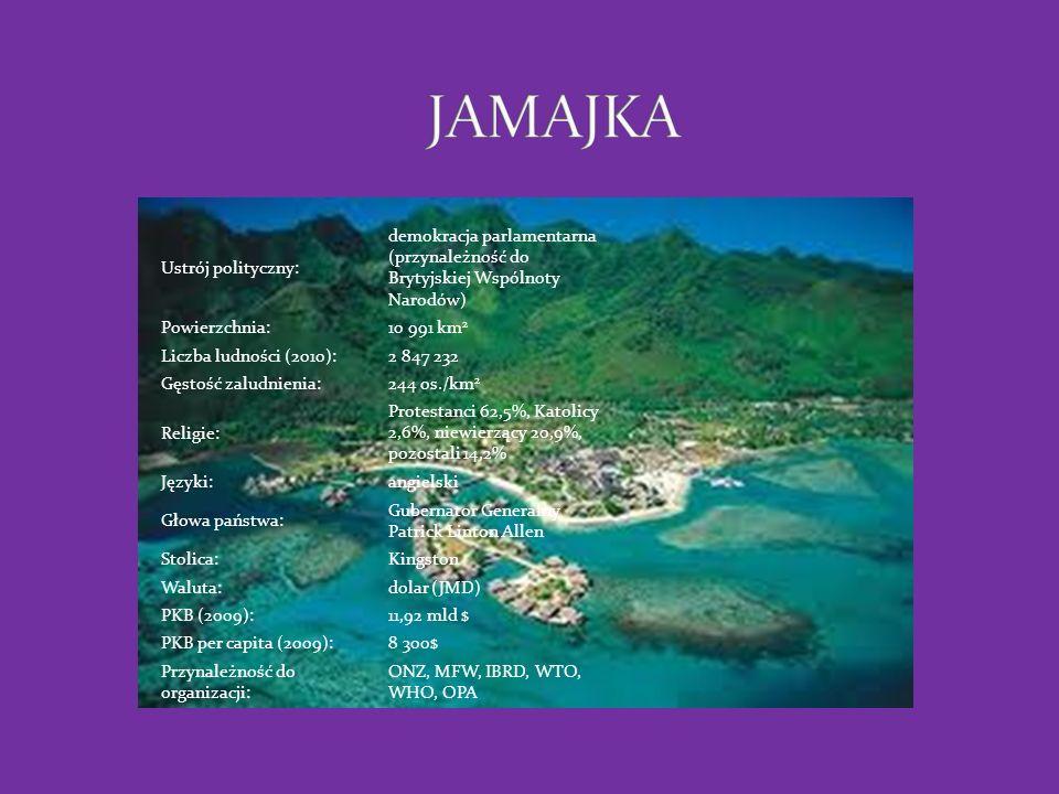 POŁOŻENIE Jamajka leży nad Morzem Karaibskim.Ponad połowa wyspy wznosi się na 300m.