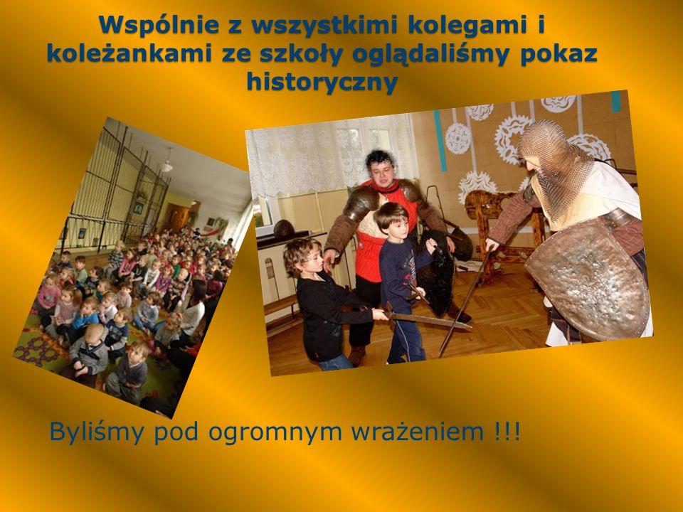 Wspólnie z wszystkimi kolegami i koleżankami ze szkoły oglądaliśmy pokaz historyczny Byliśmy pod ogromnym wrażeniem !!!