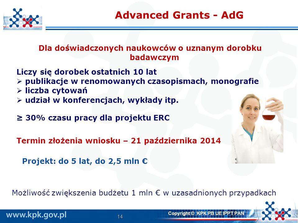 14 Copyright © KPK PB UE IPPT PAN Advanced Grants - AdG Dla doświadczonych naukowców o uznanym dorobku badawczym Liczy się dorobek ostatnich 10 lat pu
