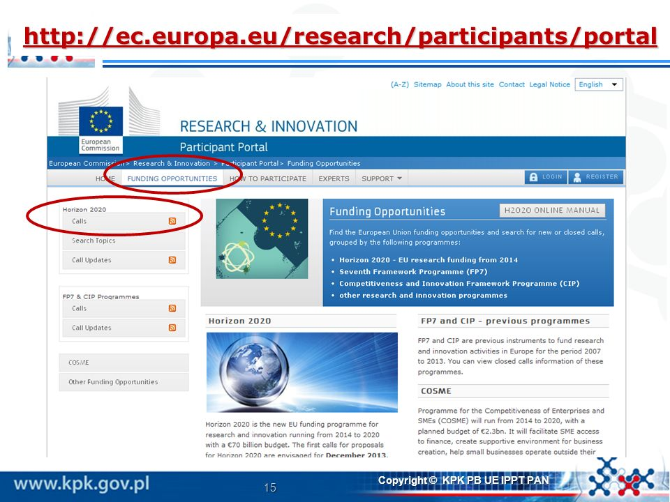15 Copyright © KPK PB UE IPPT PAN http://ec.europa.eu/research/participants/portal