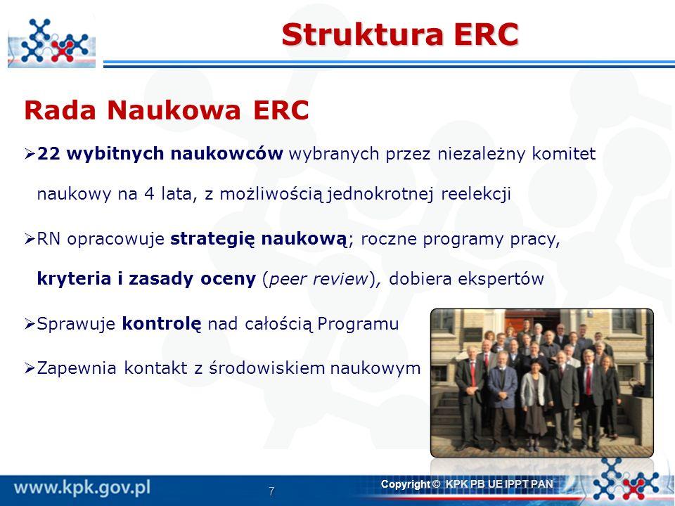7 Copyright © KPK PB UE IPPT PAN Struktura ERC Rada Naukowa ERC 22 wybitnych naukowców wybranych przez niezależny komitet naukowy na 4 lata, z możliwo