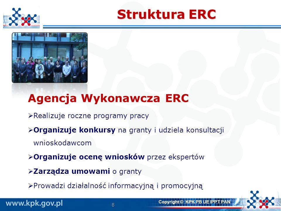 8 Copyright © KPK PB UE IPPT PAN Struktura ERC Agencja Wykonawcza ERC Realizuje roczne programy pracy Organizuje konkursy na granty i udziela konsulta