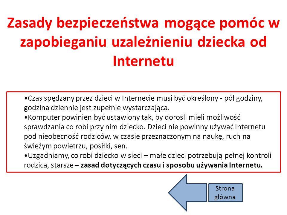 Uzależnienia Skutki nadużywania Internetu występujące u dzieci: Odcięcie emocjonalne od świata zewnętrznego, Zmniejszenie liczby bezpośrednich kontakt