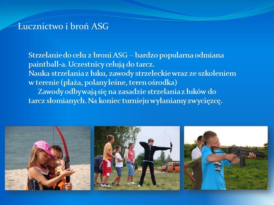 Łucznictwo i broń ASG Strzelanie do celu z broni ASG – bardzo popularna odmiana paintball-a. Uczestnicy celują do tarcz. Nauka strzelania z łuku, zawo