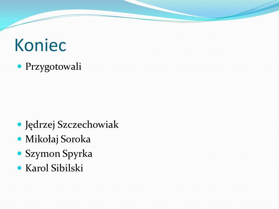 Koniec Przygotowali Jędrzej Szczechowiak Mikołaj Soroka Szymon Spyrka Karol Sibilski