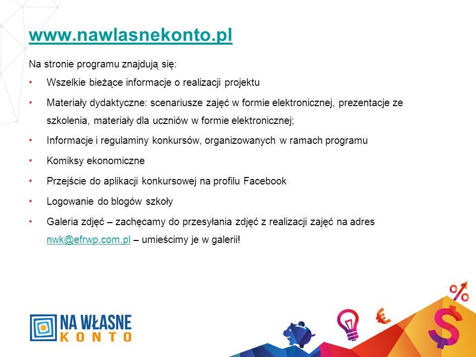www.nawlasnekonto.pl Na stronie programu znajdują się: Wszelkie bieżące informacje o realizacji projektu Materiały dydaktyczne: scenariusze zajęć w fo