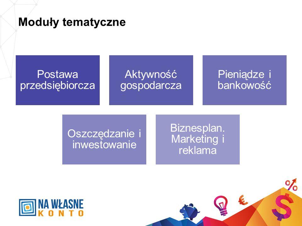 Moduły tematyczne Postawa przedsiębiorcza Aktywność gospodarcza Pieniądze i bankowość Oszczędzanie i inwestowanie Biznesplan. Marketing i reklama