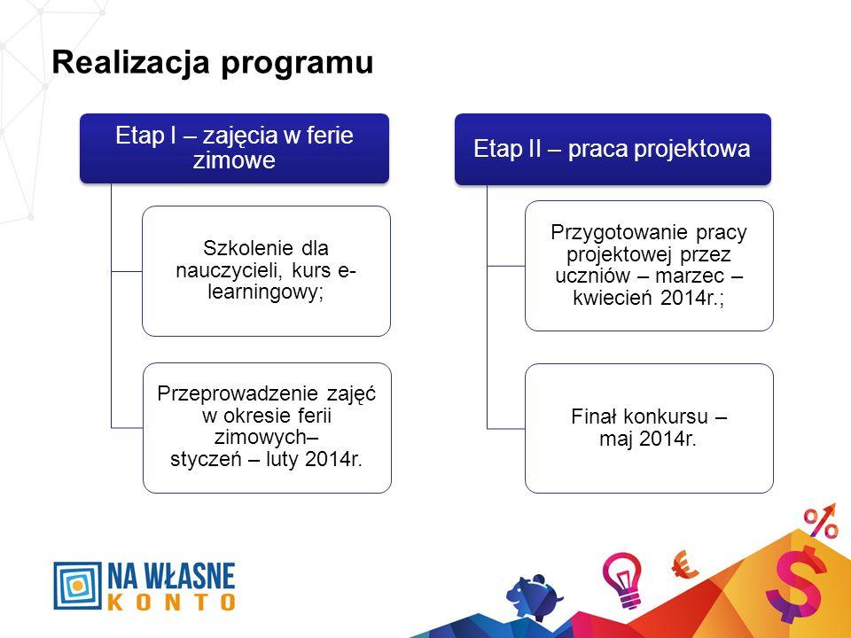 Realizacja programu Etap I – zajęcia w ferie zimowe Szkolenie dla nauczycieli, kurs e- learningowy; Przeprowadzenie zajęć w okresie ferii zimowych– st