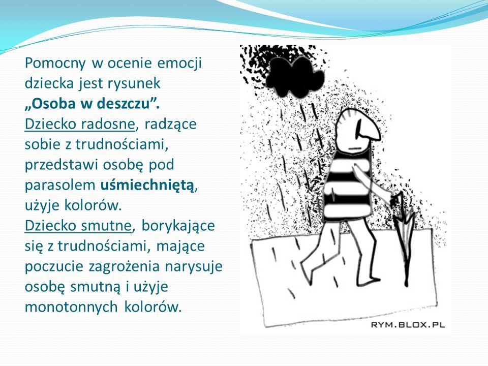 Pomocny w ocenie emocji dziecka jest rysunek Osoba w deszczu. Dziecko radosne, radzące sobie z trudnościami, przedstawi osobę pod parasolem uśmiechnię