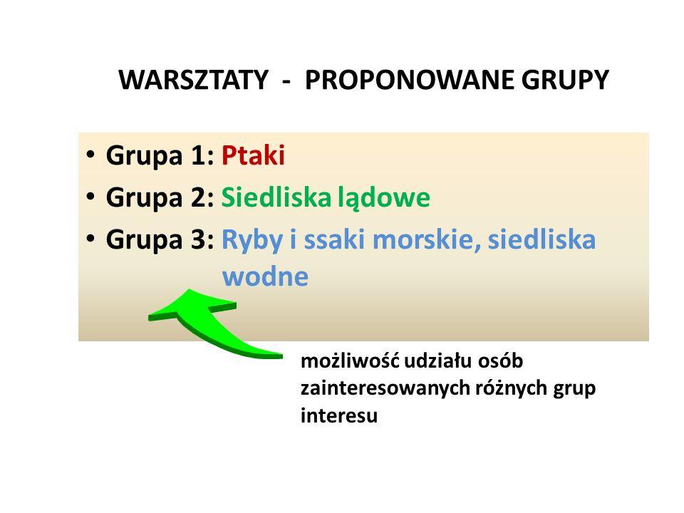 WARSZTATY - PROPONOWANE GRUPY Grupa 1: Ptaki Grupa 2: Siedliska lądowe Grupa 3: Ryby i ssaki morskie, siedliska wodne możliwość udziału osób zainteres
