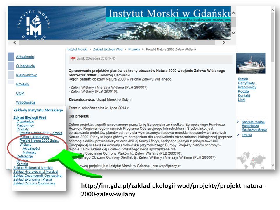 http://im.gda.pl/zaklad-ekologii-wod/projekty/projekt-natura- 2000-zalew-wilany