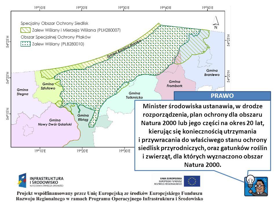 PLAN OCHRONY = Akt prawa Akt prawa sposoby utrzymania i przywracania do właściwego stanu ochrony określa sposoby utrzymania i przywracania do właściwego stanu ochrony siedlisk przyrodniczych, oraz gatunków roślin i zwierząt, dla których wyznaczono obszar Natura 2000 tworzony na okres 20 lat, z możliwością zmian w trakcie tworzony przy udziale społeczeństwa i organów opiniujących Na obszarach Natura 2000 nie podlega ograniczeniu działalność związana z utrzymaniem urządzeń i obiektów służących bezpieczeństwu przeciwpowodziowemu oraz działalność gospodarcza, rolna, leśna, łowiecka i rybacka, a także amatorski połów ryb, jeżeli nie oddziałuje znacząco negatywnie na cele ochrony obszaru Natura 2000.