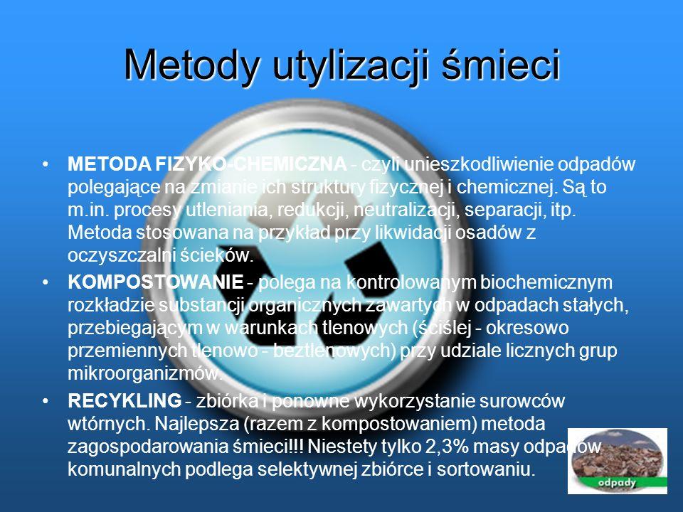 Metody utylizacji śmieci METODA FIZYKO-CHEMICZNA - czyli unieszkodliwienie odpadów polegające na zmianie ich struktury fizycznej i chemicznej. Są to m
