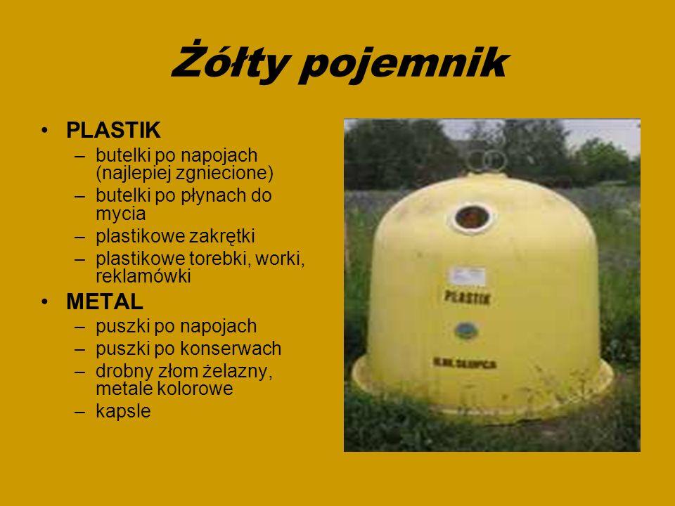 Żółty pojemnik PLASTIK –butelki po napojach (najlepiej zgniecione) –butelki po płynach do mycia –plastikowe zakrętki –plastikowe torebki, worki, rekla