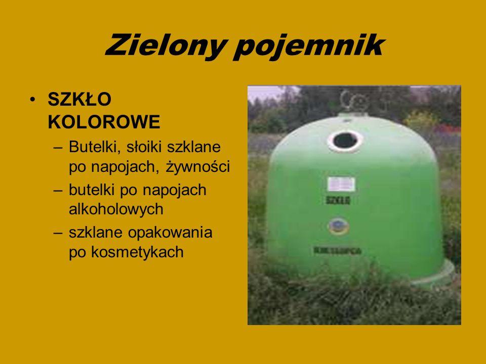 Zielony pojemnik SZKŁO KOLOROWE –Butelki, słoiki szklane po napojach, żywności –butelki po napojach alkoholowych –szklane opakowania po kosmetykach