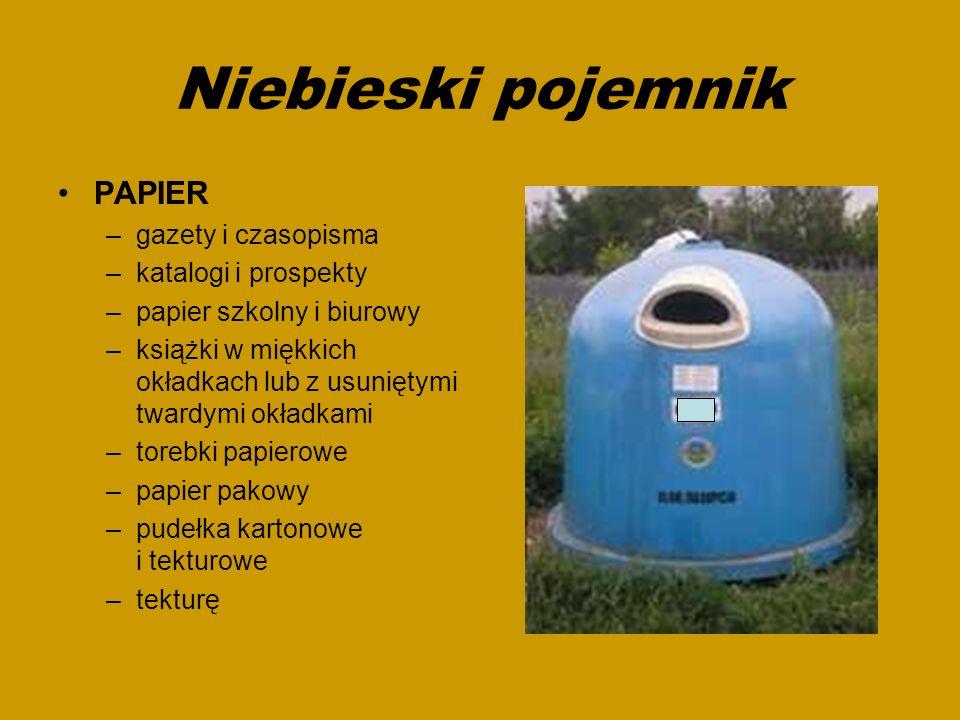 Niebieski pojemnik PAPIER –gazety i czasopisma –katalogi i prospekty –papier szkolny i biurowy –książki w miękkich okładkach lub z usuniętymi twardymi