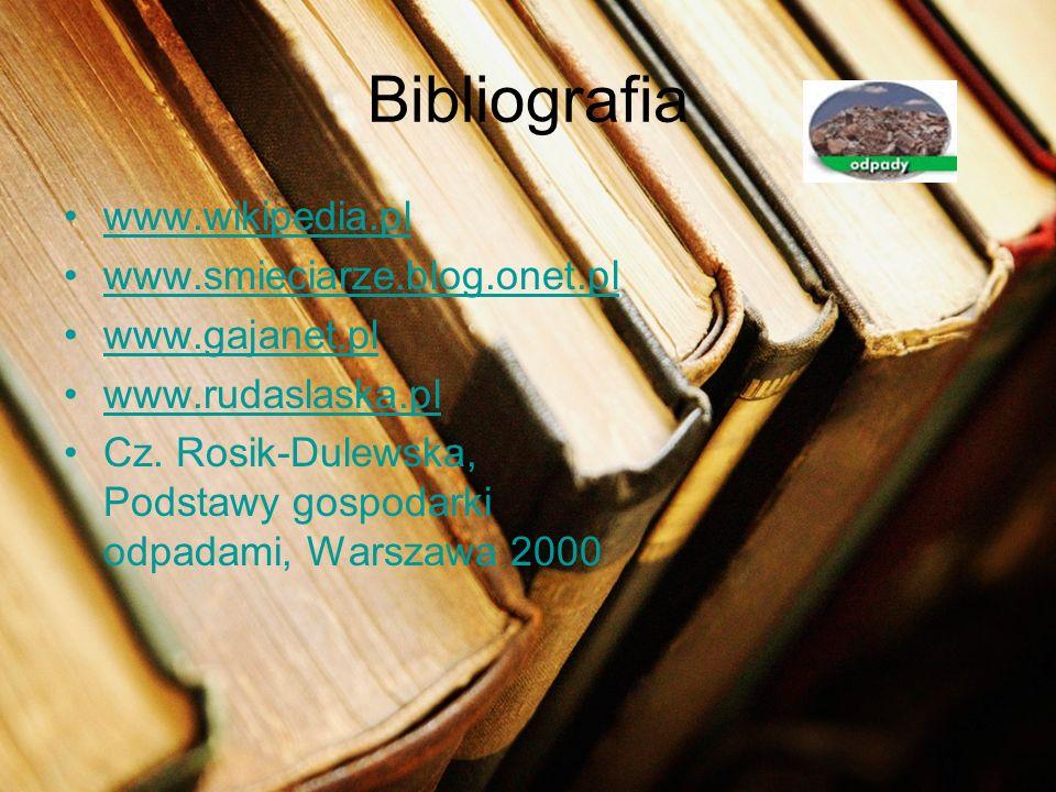 www.wikipedia.pl www.smieciarze.blog.onet.pl www.gajanet.pl www.rudaslaska.pl Cz. Rosik-Dulewska, Podstawy gospodarki odpadami, Warszawa 2000 Bibliogr