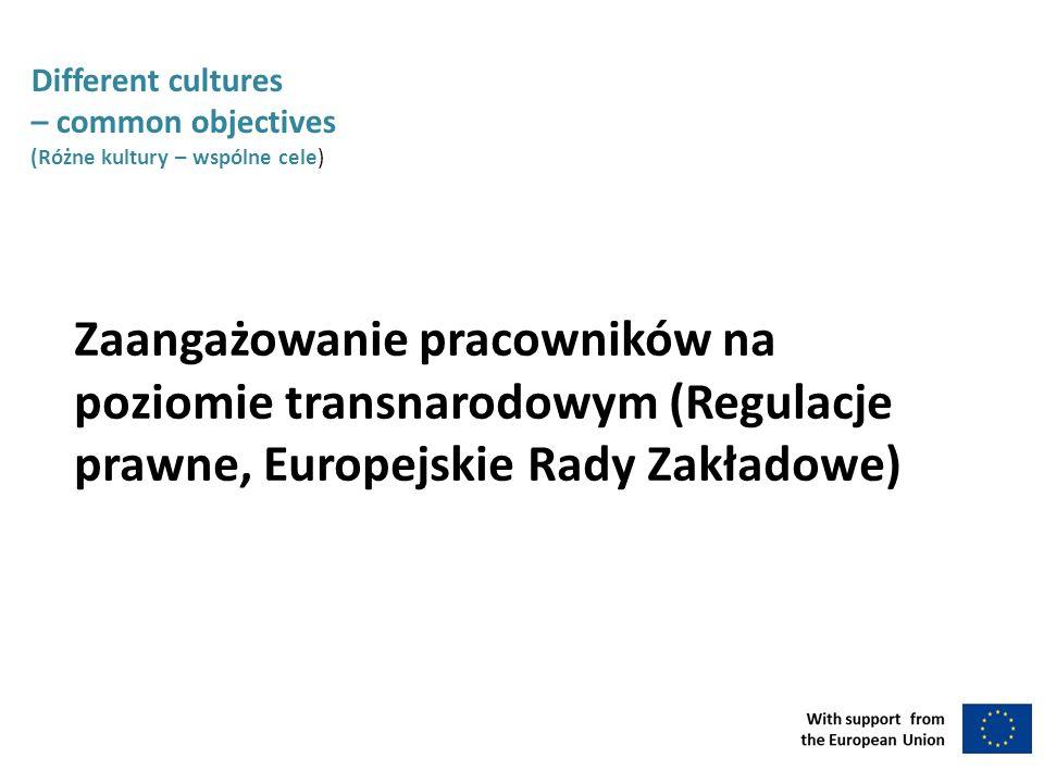 Different cultures – common objectives (Różne kultury – wspólne cele) Zaangażowanie pracowników na poziomie transnarodowym (Regulacje prawne, Europejskie Rady Zakładowe)