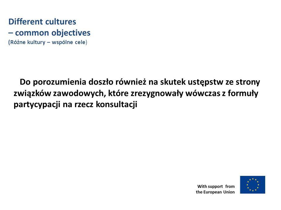 Do porozumienia doszło również na skutek ustępstw ze strony związków zawodowych, które zrezygnowały wówczas z formuły partycypacji na rzecz konsultacji Different cultures – common objectives (Różne kultury – wspólne cele)