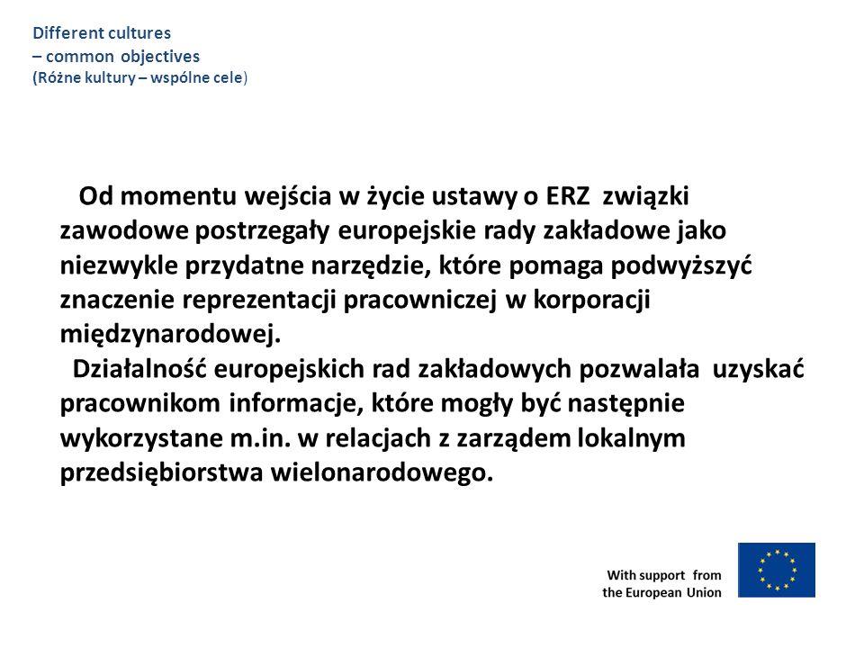 Od momentu wejścia w życie ustawy o ERZ związki zawodowe postrzegały europejskie rady zakładowe jako niezwykle przydatne narzędzie, które pomaga podwyższyć znaczenie reprezentacji pracowniczej w korporacji międzynarodowej.