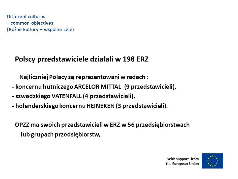Polscy przedstawiciele działali w 198 ERZ Najliczniej Polacy są reprezentowani w radach : - koncernu hutniczego ARCELOR MITTAL (9 przedstawicieli), - szwedzkiego VATENFALL (4 przedstawicieli), - holenderskiego koncernu HEINEKEN (3 przedstawicieli).