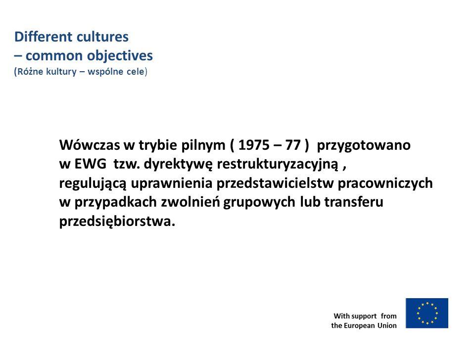 Different cultures – common objectives (Różne kultury – wspólne cele) Wówczas w trybie pilnym ( 1975 – 77 ) przygotowano w EWG tzw.