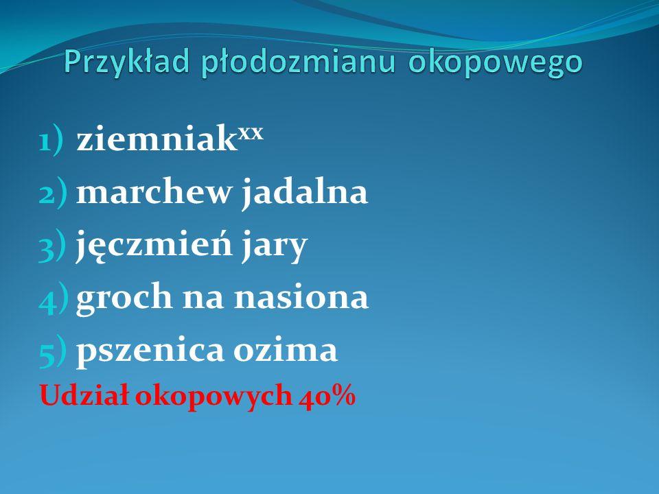 1) ziemniak xx 2) marchew jadalna 3) jęczmień jary 4) groch na nasiona 5) pszenica ozima Udział okopowych 40%