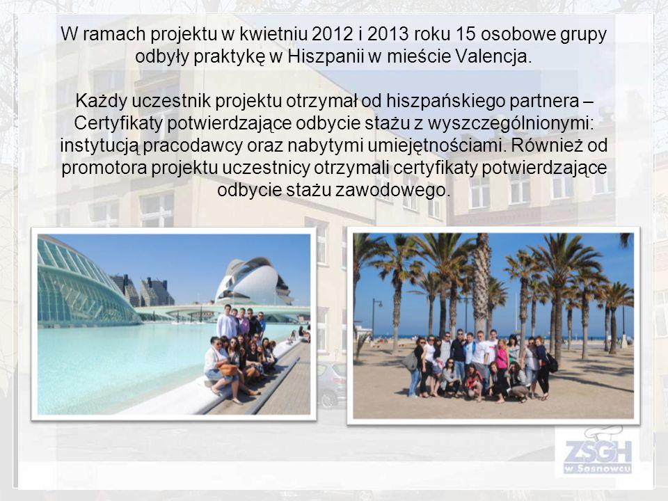 W ramach projektu w kwietniu 2012 i 2013 roku 15 osobowe grupy odbyły praktykę w Hiszpanii w mieście Valencja. Każdy uczestnik projektu otrzymał od hi