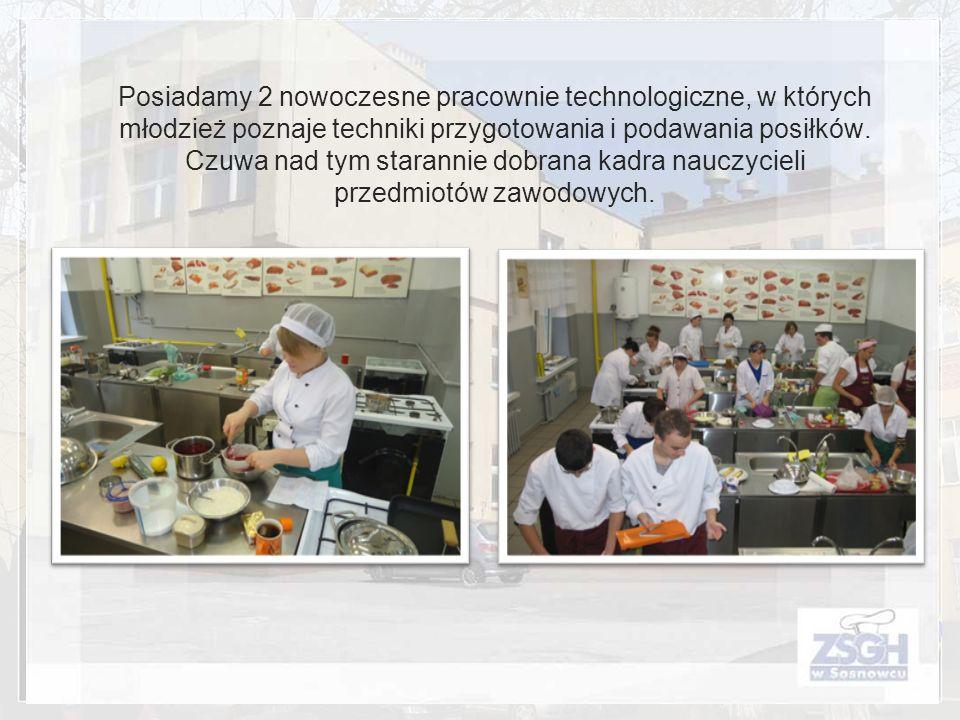 Posiadamy 2 nowoczesne pracownie technologiczne, w których młodzież poznaje techniki przygotowania i podawania posiłków. Czuwa nad tym starannie dobra