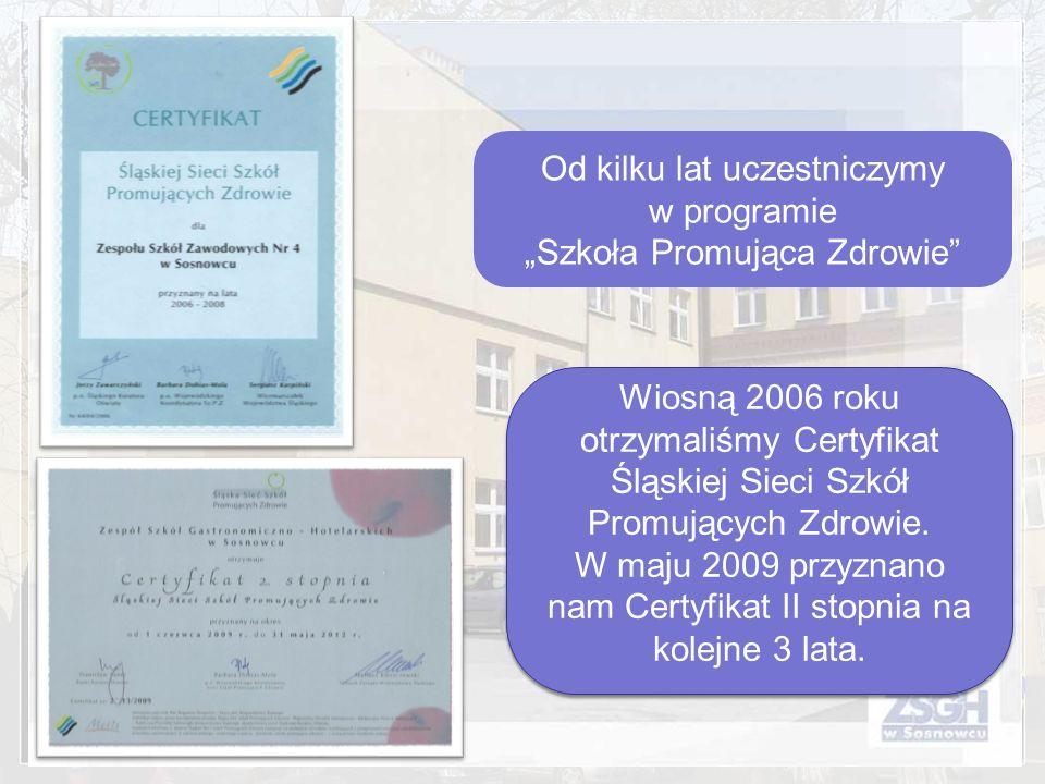 Od kilku lat uczestniczymy w programie Szkoła Promująca Zdrowie Wiosną 2006 roku otrzymaliśmy Certyfikat Śląskiej Sieci Szkół Promujących Zdrowie. W m