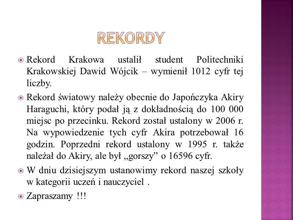 Rekord Krakowa ustalił student Politechniki Krakowskiej Dawid Wójcik – wymienił 1012 cyfr tej liczby. Rekord światowy należy obecnie do Japończyka Aki
