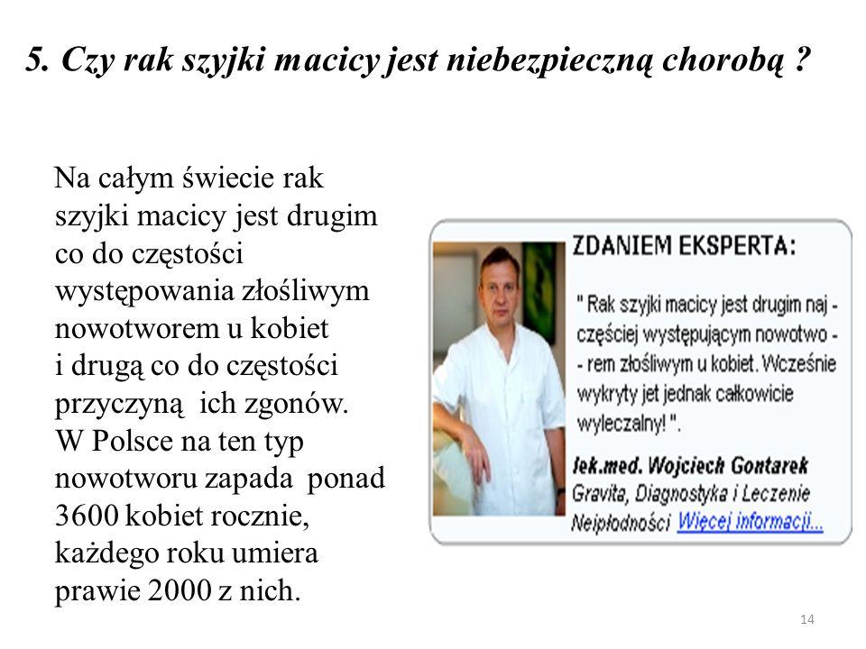 5.Czy rak szyjki macicy jest niebezpieczną chorobą .