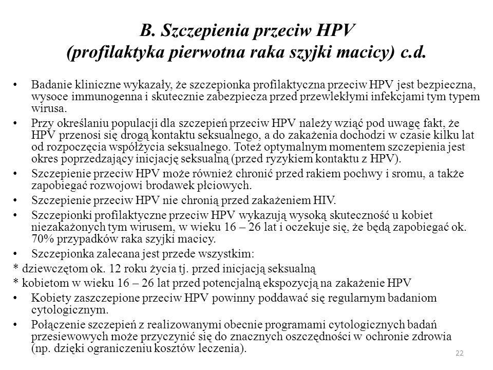B.Szczepienia przeciw HPV (profilaktyka pierwotna raka szyjki macicy) c.d.