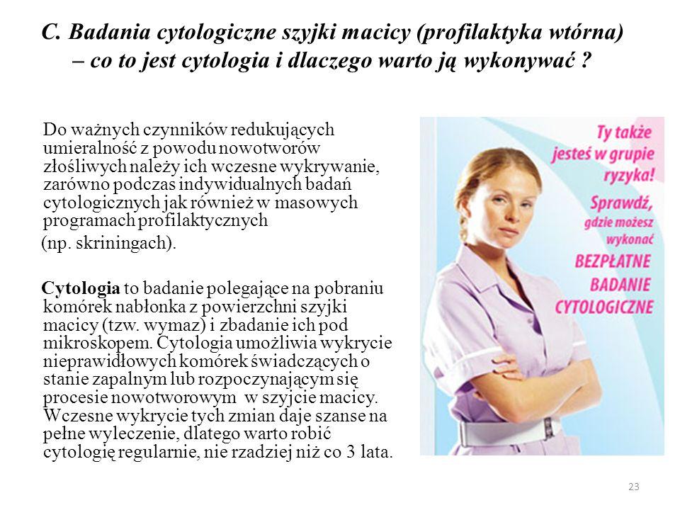 C. Badania cytologiczne szyjki macicy (profilaktyka wtórna) – co to jest cytologia i dlaczego warto ją wykonywać ? Do ważnych czynników redukujących u