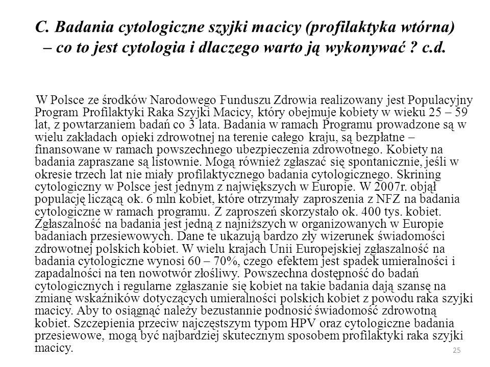 C. Badania cytologiczne szyjki macicy (profilaktyka wtórna) – co to jest cytologia i dlaczego warto ją wykonywać ? c.d. W Polsce ze środków Narodowego