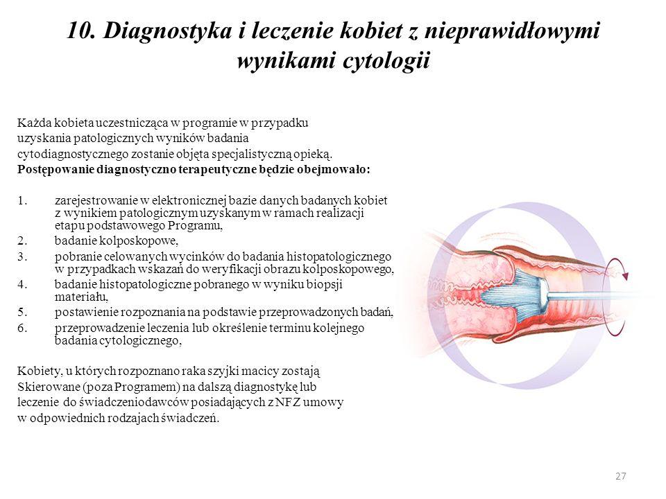 10. Diagnostyka i leczenie kobiet z nieprawidłowymi wynikami cytologii Każda kobieta uczestnicząca w programie w przypadku uzyskania patologicznych wy