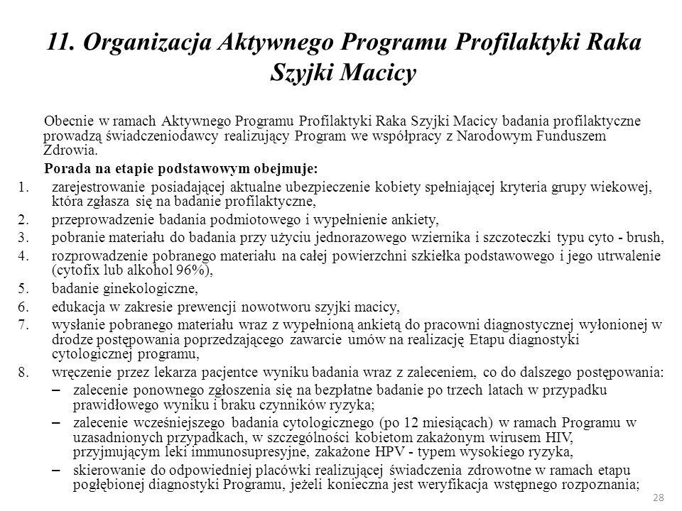 11.Organizacja Aktywnego Programu Profilaktyki Raka Szyjki Macicy c.d.
