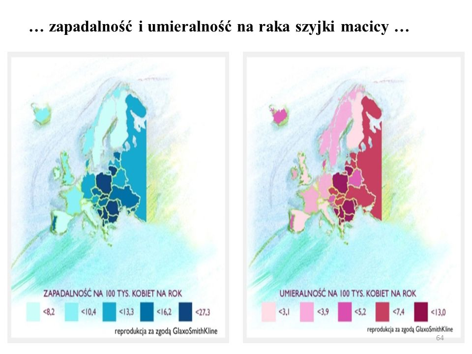 Zachorowania kobiet na najczęstsze nowotwory złośliwe w Polsce w 2005 roku, struktura (%) 65