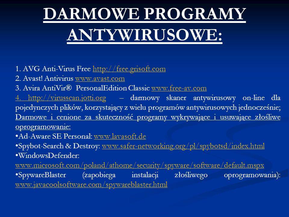 DARMOWE PROGRAMY ANTYWIRUSOWE: 1. AVG Anti-Virus Free http://free.grisoft.comhttp://free.grisoft.com 2. Avast! Antivirus www.avast.comwww.avast.com 3.