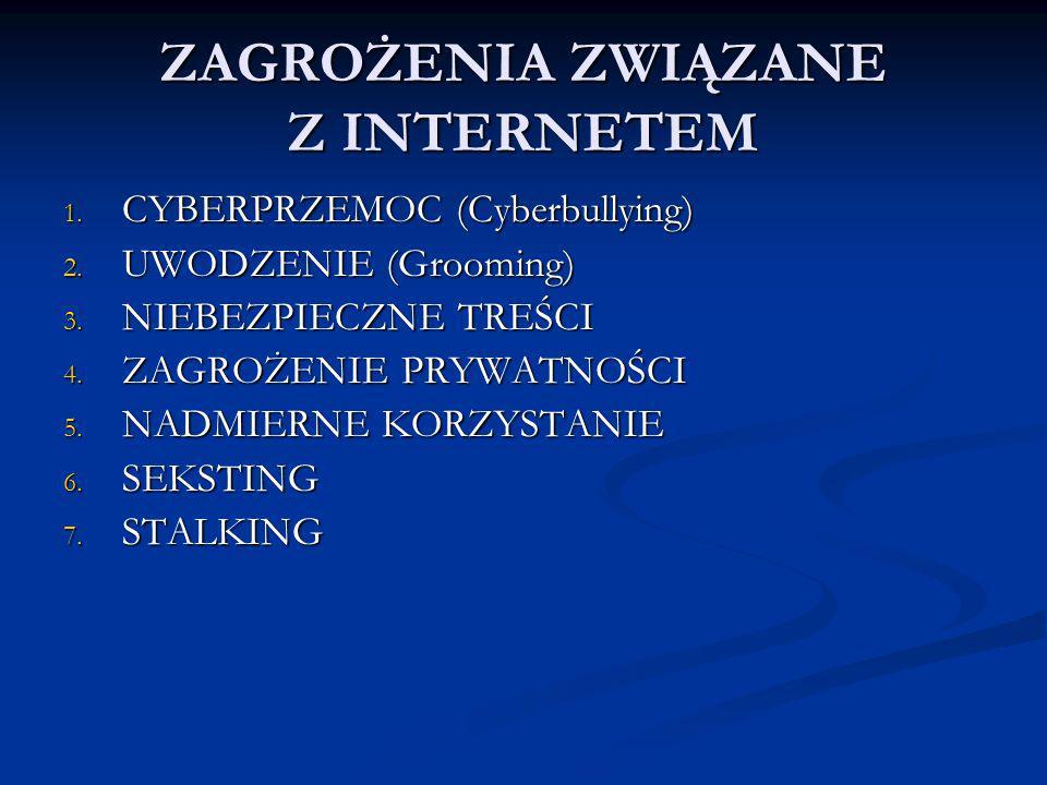 ZAGROŻENIA ZWIĄZANE Z INTERNETEM 1. CYBERPRZEMOC (Cyberbullying) 2. UWODZENIE (Grooming) 3. NIEBEZPIECZNE TREŚCI 4. ZAGROŻENIE PRYWATNOŚCI 5. NADMIERN