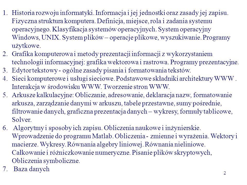Tomasz Bajorek dr inż. e-mail: tbajorek@prz.edu.pl sem. 130 godzin wykład tematyka: Architektura komputera PC Sieci komputerowe SO Windows Grafika ras