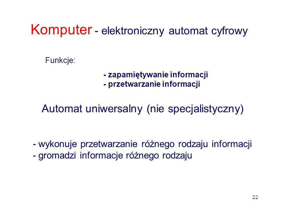 Ogólne zasady działania komputera Układy liczbowe Funkcjonowanie komputera opiera się na działaniach liczbowych przy czym jako układ podstawowy zapisu liczb przyjęto układ binarny (dwójkowy) ze względu na łatwość interpretacji stanu napięciowego elementu elektronicznego (stan jakościowy jest prostszy w detekcji od stanu ilościowego).