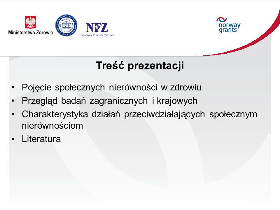 Treść prezentacji Pojęcie społecznych nierówności w zdrowiu Przegląd badań zagranicznych i krajowych Charakterystyka działań przeciwdziałających społe
