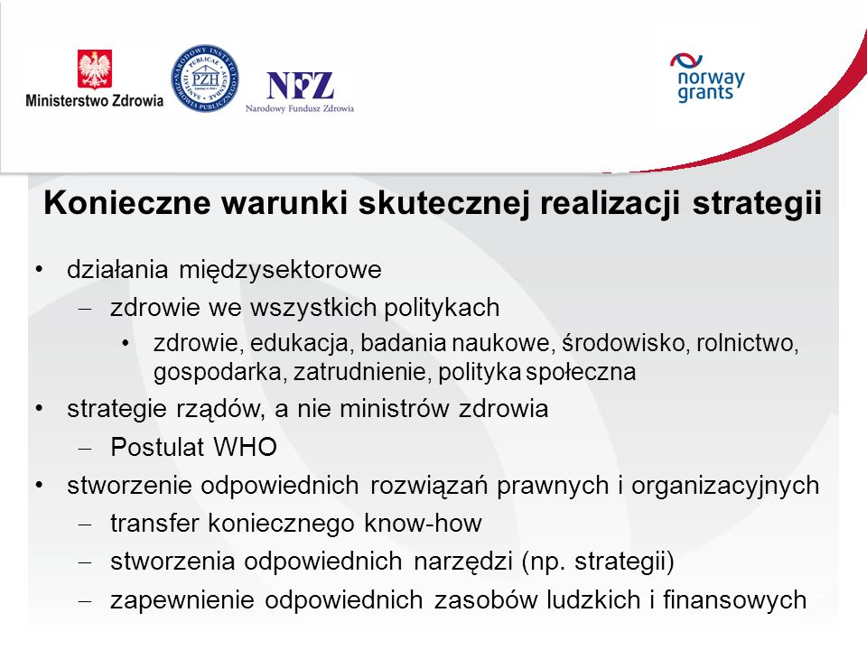 Konieczne warunki skutecznej realizacji strategii działania międzysektorowe zdrowie we wszystkich politykach zdrowie, edukacja, badania naukowe, środowisko, rolnictwo, gospodarka, zatrudnienie, polityka społeczna strategie rządów, a nie ministrów zdrowia Postulat WHO stworzenie odpowiednich rozwiązań prawnych i organizacyjnych transfer koniecznego know-how stworzenia odpowiednich narzędzi (np.