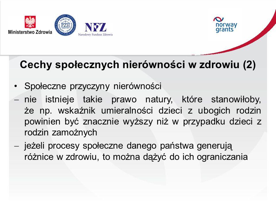 Polska W Polsce różnice w oczekiwanej średniej długości życia dochodzą do 12-16 lat Różnice tego rodzaju występują pomiędzy stanem zdrowia o różnych grup społecznych, o mieszkańcami różnych województw, powiatów, gmin o pomiędzy dużymi miastami (np.