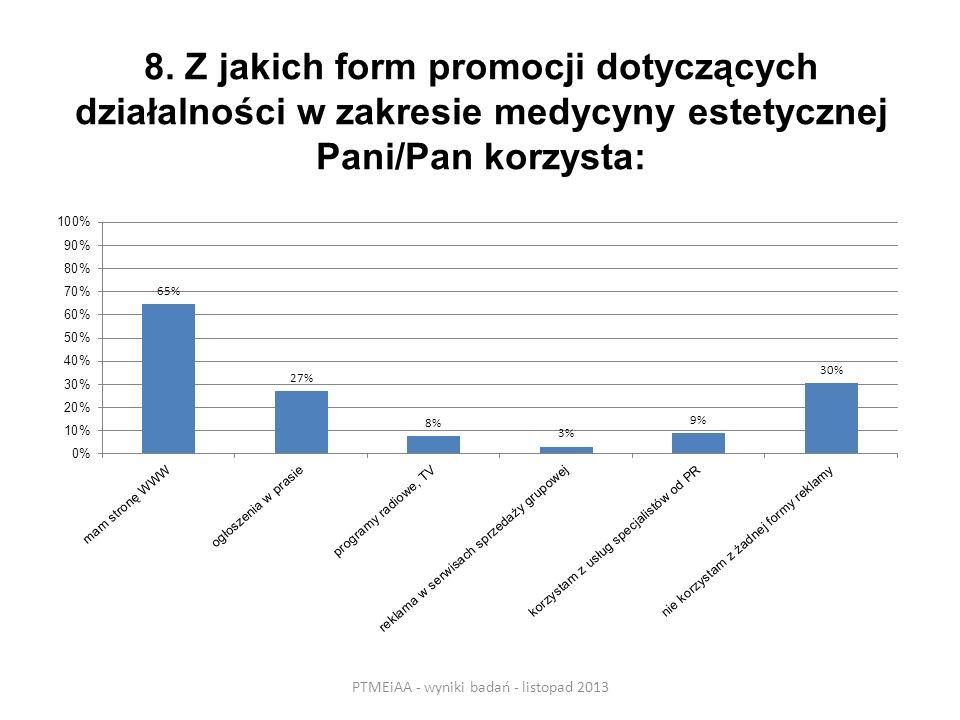 8. Z jakich form promocji dotyczących działalności w zakresie medycyny estetycznej Pani/Pan korzysta: PTMEiAA - wyniki badań - listopad 2013