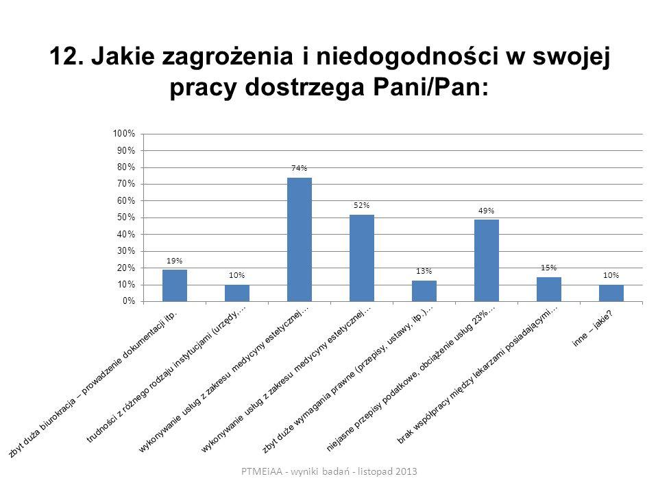 12. Jakie zagrożenia i niedogodności w swojej pracy dostrzega Pani/Pan: PTMEiAA - wyniki badań - listopad 2013