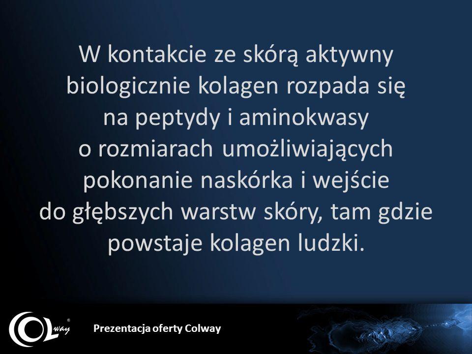 Prezentacja oferty Colway W kontakcie ze skórą aktywny biologicznie kolagen rozpada się na peptydy i aminokwasy o rozmiarach umożliwiających pokonanie