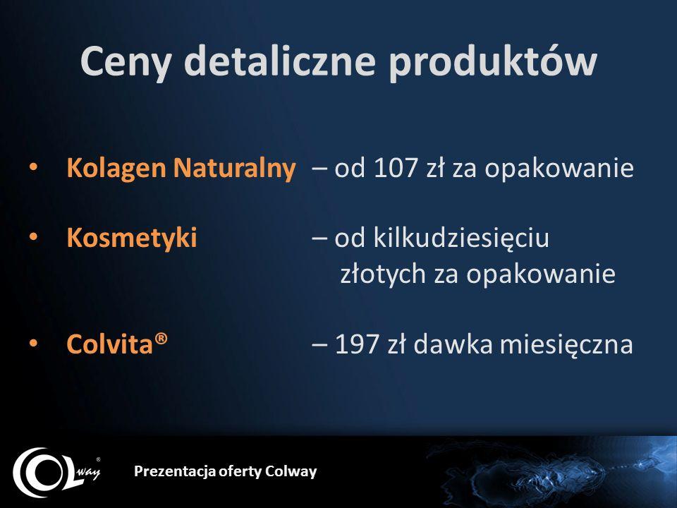 Prezentacja oferty Colway Ceny detaliczne produktów Kolagen Naturalny – od 107 zł za opakowanie Kosmetyki – od kilkudziesięciu złotych za opakowanie C